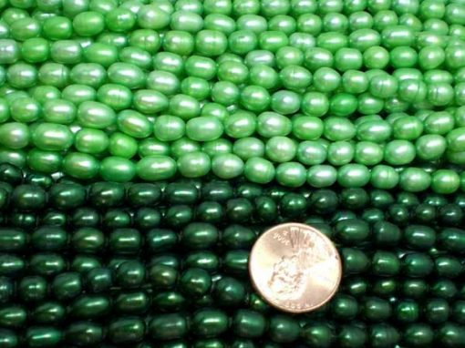 Dark Green and Light Green 5-6mm Oval or Rice Pearls Strands