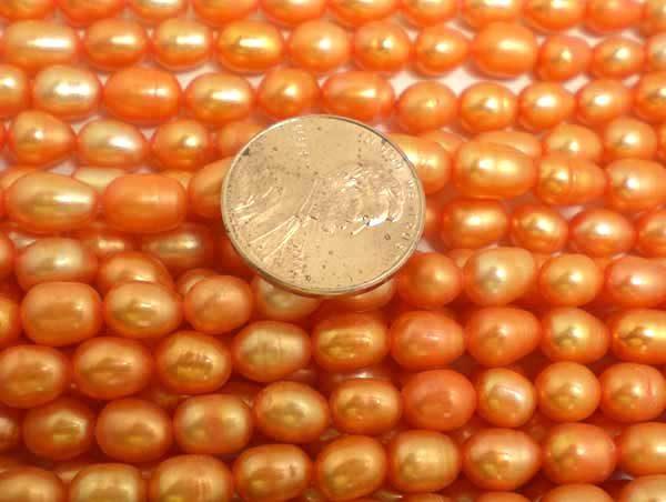 Orange 5-6mm Oval or Rice Pearl Strands