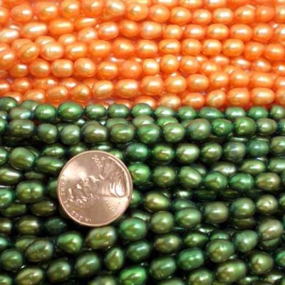 Orange and Dark Olive Green 5-6mm Oval or Rice Pearl Strands