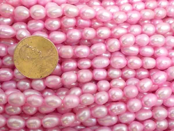 Baby Pink 5-6mm Oval or Rice Pearl Strands