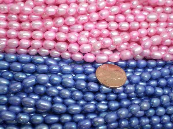 Baby Pink and Royal Blue 5-6mm Oval or Rice Pearl Strands