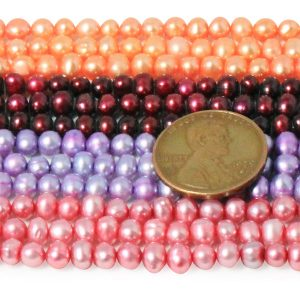 Peach, Cranberry, Lavender and Magenta 3-4mm AA+ Semi-Round Potato Pearl Strand