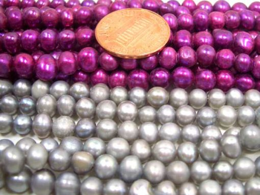 Grey and Purple 4-5mm Side drilled Semi-Round Potato Pearl Strands