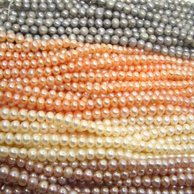 Grey, Peach, Mauve, Chocolate 4-5mm Side drilled Semi-Round Potato Pearl Strands