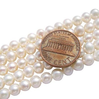White 5-6mm Semi-Round Pearl Strands