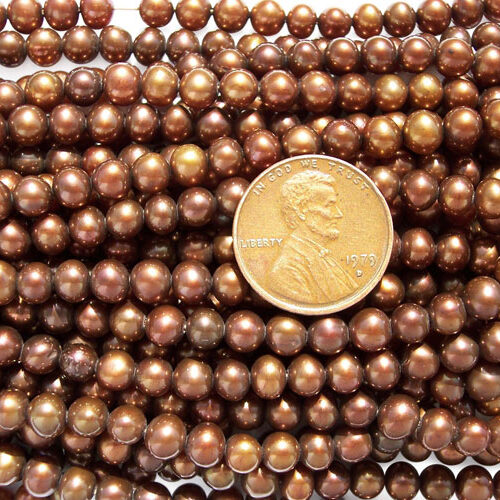 5-6mm Semi-Round Pearl Strand, Chocolate Colored