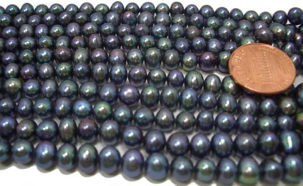 Black 6-7mm Side drilled Semi-Round Potato Pearl Strand
