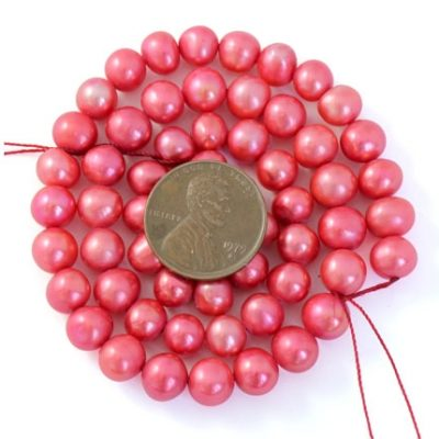 Rose Pink 7-8mm AA Side drilled Semi-Round Potato Pearl Strand