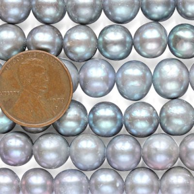8-9mm Grey Colored AA Side drilled Semi-Round Potato Pearl Strand