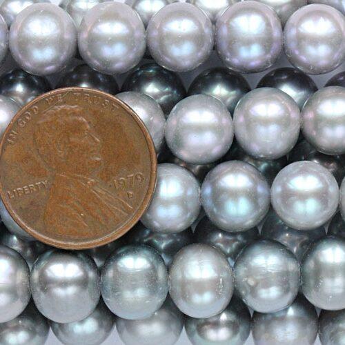 9-10mm AA Semi-Round Grey Colored Pearl Strand