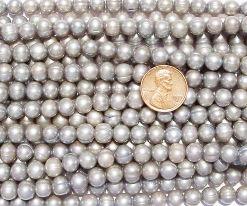 Grey 7-8mm Side Drilled Semi-Round Pearl Strands with Natural Dents