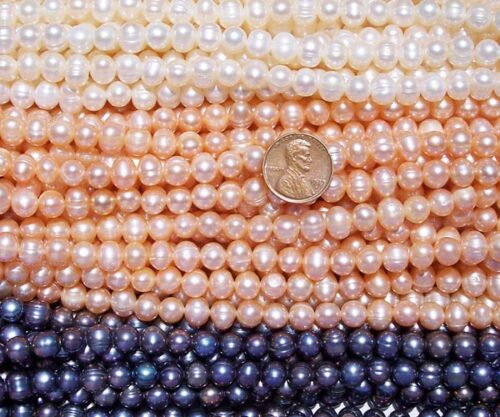 White, Pink and Black 7-8mm Side Drilled Semi-Round Pearl Strands with Natural Dents