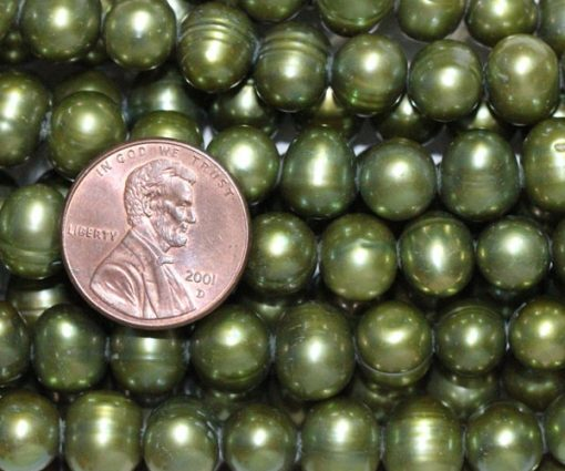 Green colored 8-9mm Side Drilled Potato Pearls
