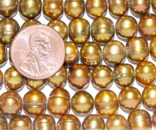 Dark Golden Rod 8-9mm Side Drilled Potato Pearls