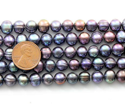 Black colored 8-9mm Side Drilled Potato Pearls