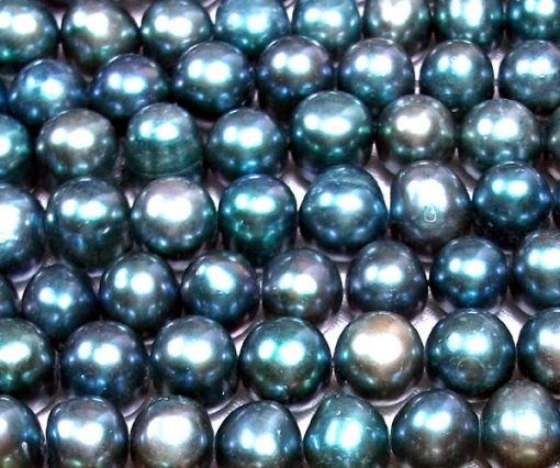 Greenish Grey Colored 8-9mm Side Drilled Potato Pearls
