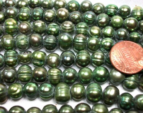 Olive Green 8-9mm Side Drilled Semi-Round Pearl Strands, Natural Dents,Larger Hole