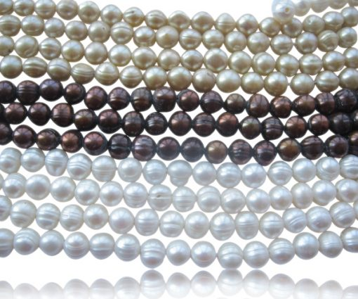 Grey, Black and White 9-10mm Semi-Round Pearl Strands, 1.7mm, 2.0mm or 2.3mm holes
