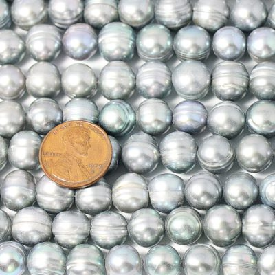 Grey 10-11mm Side Drilled Semi-Round Pearl Strands with Natural Dents