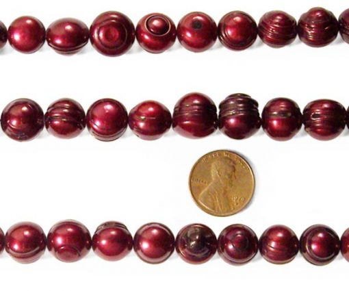 Cranberry 12-13mm Side Drilled Semi-Round Pearl Strand with Natural Dents