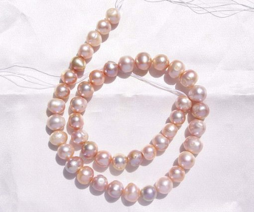 Mauve 9-10mm Side Drilled Potato Pearl Strand