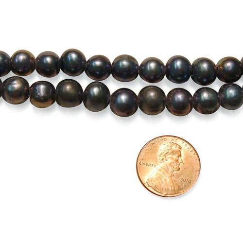 Black 9-10mm Side Drilled Potato Pearl Strand with 1.7mm or 2.3mm Holes