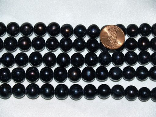 Black 10-11mm Side Drilled Potato Pearls on Temporary Strand