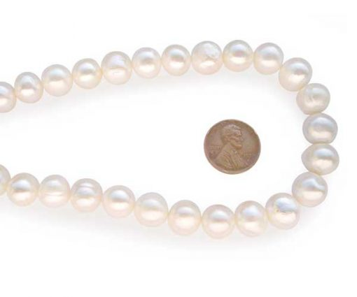 White 11-12mm Side Drilled Potato Pearls on Temporary Strand