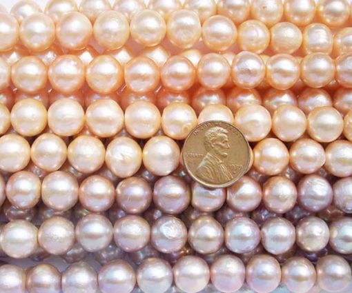 Pink and Mauve 11-12mm Side Drilled Potato Pearls on Temporary Strand
