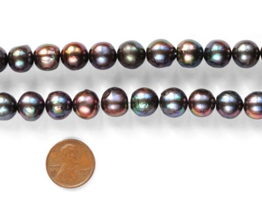 Black 11-12mm Side Drilled Potato Pearls on Temporary Strand