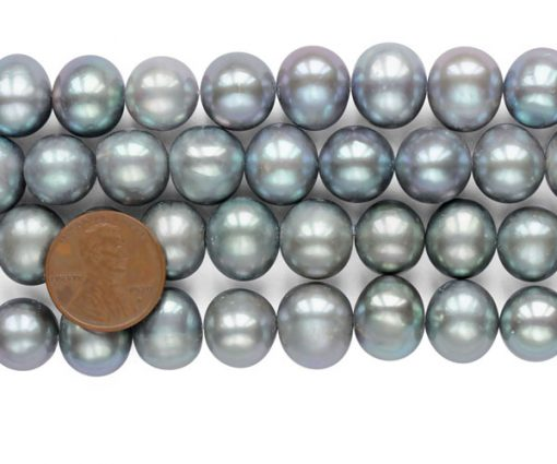 Grey 12-13mm Side Drilled Potato Pearls on Temporary Strand