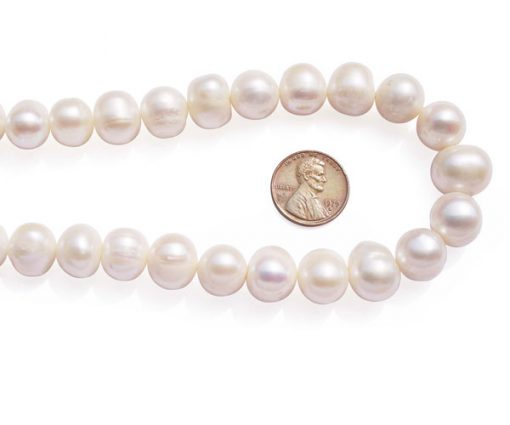 White 12-13mm Side Drilled Potato Pearls on Temporary Strand
