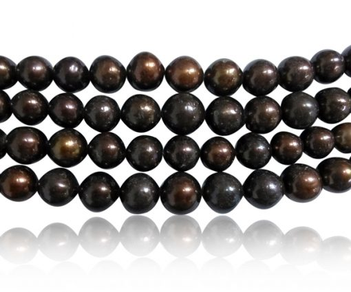 Chocolate 12-14mm Side Drilled Potato Pearl Strand
