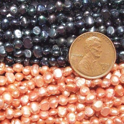 Multi-Black and Mauve 3-4mm Baroque Pearl Strand