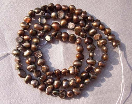 Dark Chocolate 3-4mm Baroque Pearl Strand
