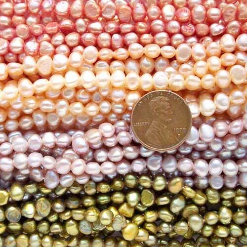 4-5mm Pink, Gold, Mauve and Chocolate Colored Baroque Pearl Strand