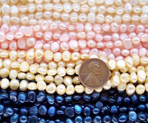 White, Champagne, and Light Baby Pink 5-6mm Baroque Shaped Pearl Strands