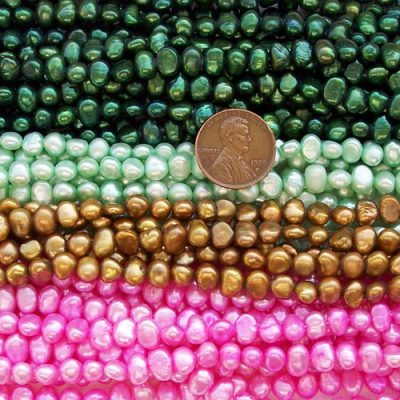 Dark Green, Light Green, Brown and Hot Pink 5-6mm Baroque Shaped Pearl Strands