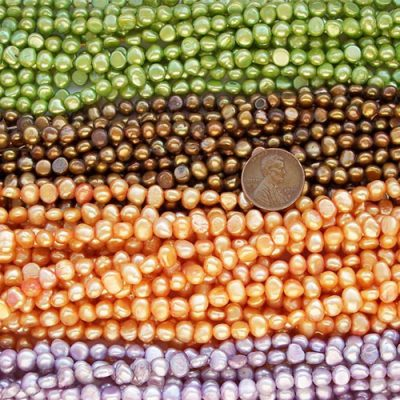 Spring Green, Sandy Brown, Dark Golden Rod and Light Purple 5-6mm Baroque Shaped Pearl Strands