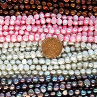Golden Brown, Baby Pink, Silver Gray and Multi-Black 5-6mm Baroque Shaped Pearl Strands