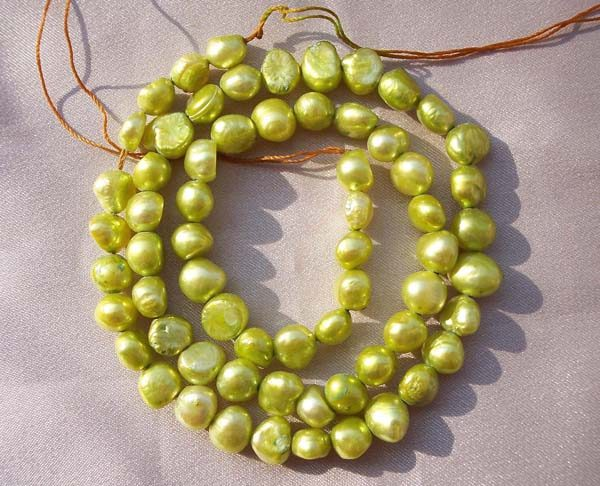 Olive Green Baroque Pearls