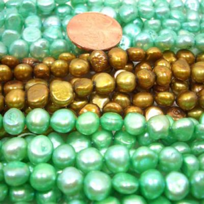 Green colored baroque pearl strands