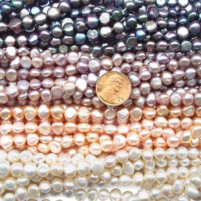 White, Pink, Mauve and Black 7-8mm Baroque Shaped Pearl Strands