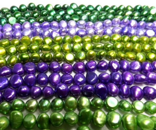 Christmas Green, Light orchid, Olive Green, Dark Orchid, and Green Baroque Pearl Strand