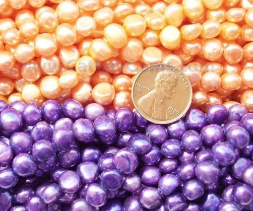 Peach and Dark Orchid 7-8mm Baroque Pearl Strand