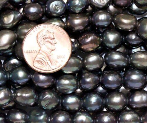 Black 8-9mm AA+ Baroque Pearl Strands