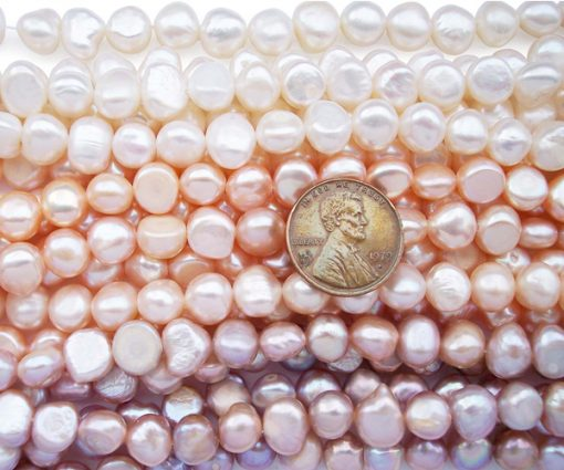 8-9mm White, Pink and Mauve Colored Baroque Pearl Strands