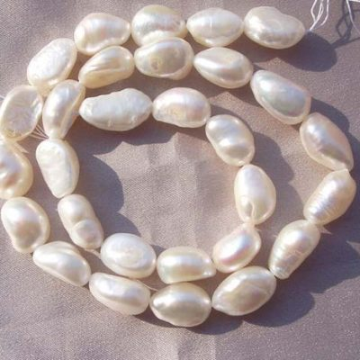 White 9-10mm Length Drilled Baroque Pearl Strand