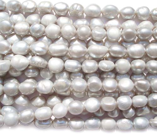 Grey 10-11mm Length Drilled High Quality Baroque Pearl Strand