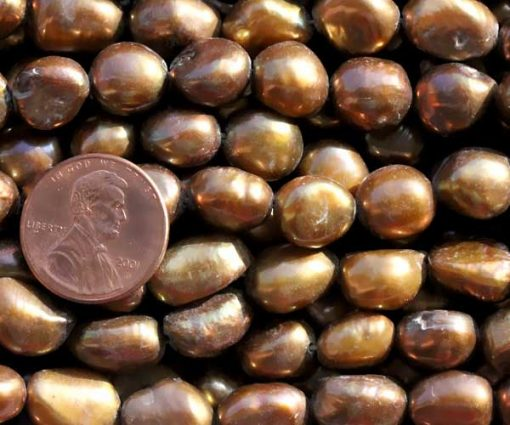 Chocolate 10-11mm Length Drilled High Quality Baroque Pearl Strand